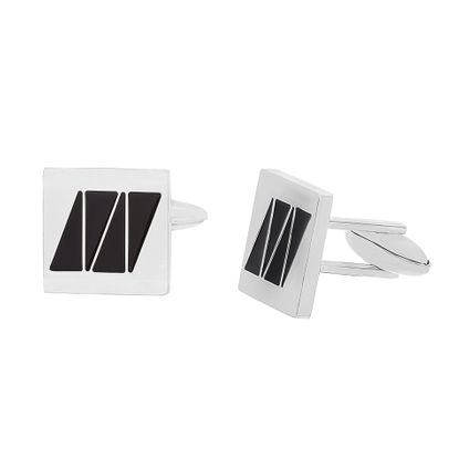 Imagen de Stainless Steel Square with Black Enamel Cufflinks