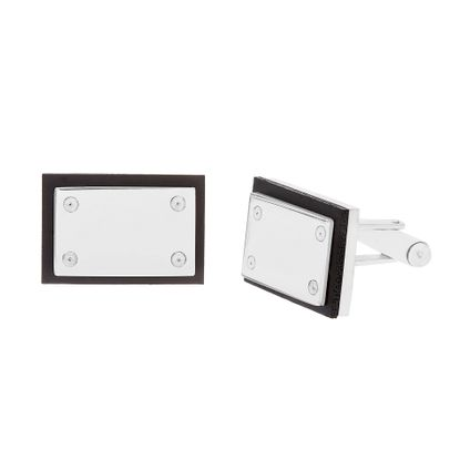 Imagen de Stainless Steel Rectangle with Black Enamel Cufflinks