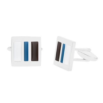 Imagen de Men's Silver-Tone Stainless Steel Blue Enamel Square Cuff Links