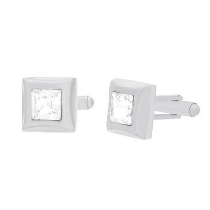 Imagen de Silver-Tone Stainless Steel Cubic Zirconia Square Cuff Links