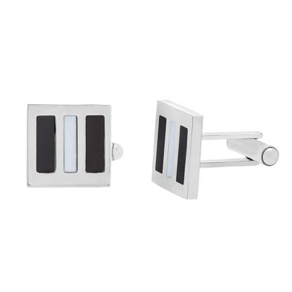 Imagen de Silver-Tone Stainless Steel With Enamel Cuff Links