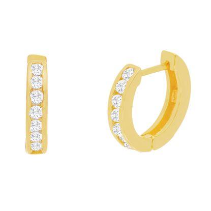 Imagen de Sterling Silver Cubic Zirconia Horseshoe Huggie Earrings