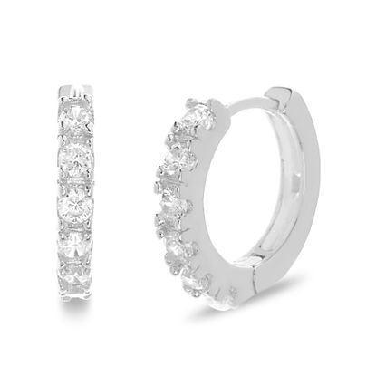 Imagen de Sterling Silver Cubic Zirconia and Open Rectangle Earrings