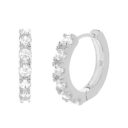 Imagen de Sterling Silver Cubic Zirconia 4 Prong Pave Huggie Earrings