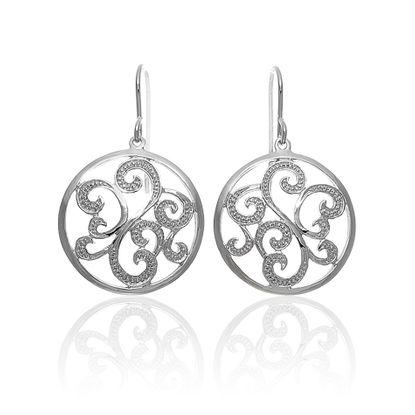 Imagen de Filagree Disc Dangling Earring in Sterling Silver