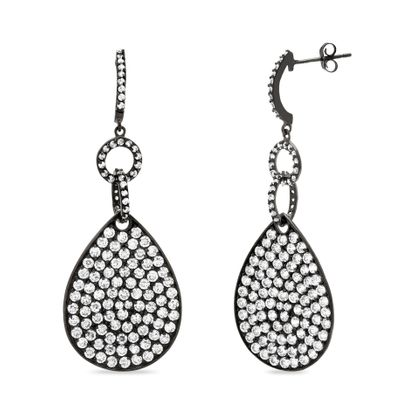 Imagen de Sterling Silver Cubic Zirconia Black Teardrop Earrings