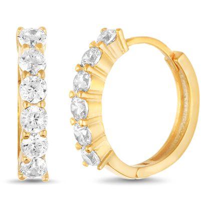 Imagen de Cubic Zirconia Huggie Hoop Earring in Yellow Gold over Sterling Silver
