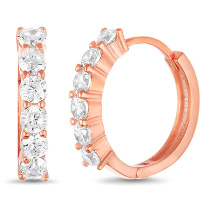 Imagen de Cubic Zirconia Huggie Hoop Earring in Rose Gold over Sterling Silver