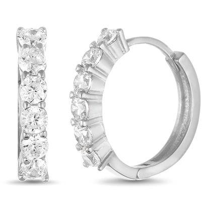 Imagen de Cubic Zirconia Huggie Hoop Earring in Rhodium over Sterling Silver