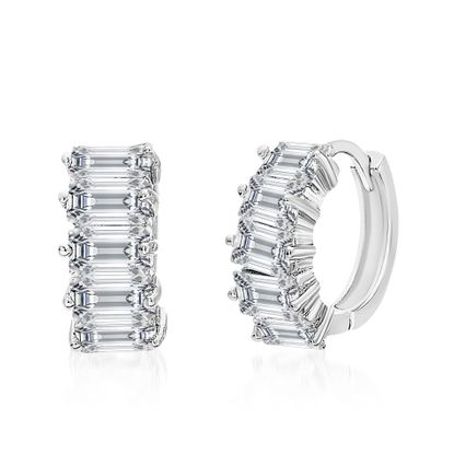 Imagen de Cubic Zirconia Fancy Huggie Earrings in Rhodium over Sterling Silver