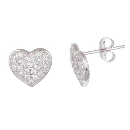 Imagen de Sterling  Silver Cubic Zirconia Heart Shape Earrings
