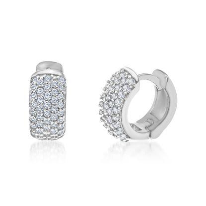 Imagen de Cubic Zirconia Pave Huggie Earrings in Sterling Silver