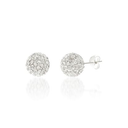 Imagen de Sterling Silver Crystal Round 10mm Ball Post Earrings