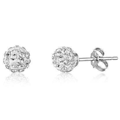 Imagen de Faceted Crystal Ball 6mm Stud Earring in Sterling Silver