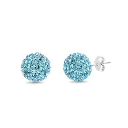 Picture of Faceted Crystal Ball 6mm Stud Earring in Sterling Silver