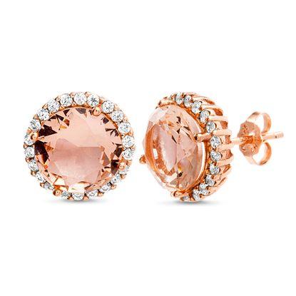 Imagen de Sterling Silver Rose Peach Cubic Zirconia Halo Post Earring