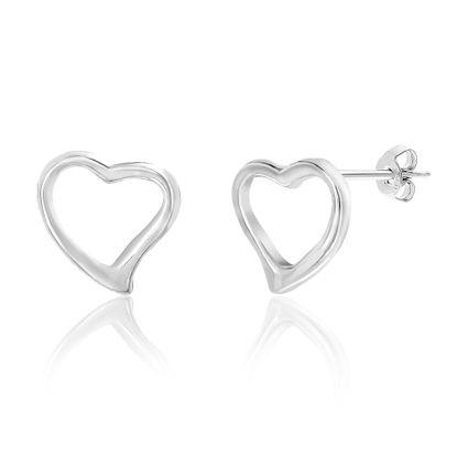 Imagen de Sterling Open Heart Huggie Earrings