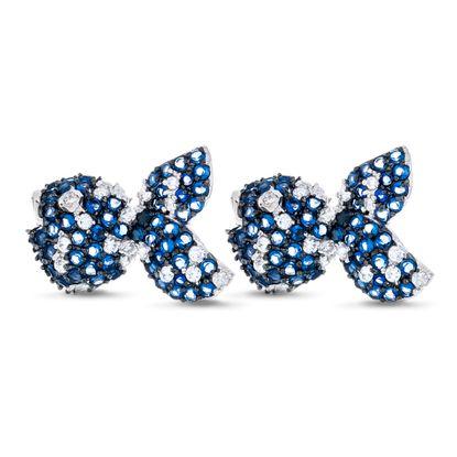 Imagen de Two-Tone Sterling Silver Cubic Zirconia Fish Post Earrings