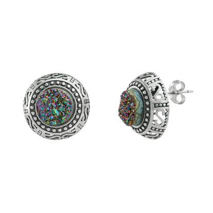 Imagen de Sterling Silver Multicolored Druzy Filigree Design Border Circle Post Earring