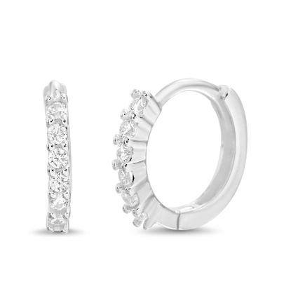 Imagen de Sterling Silver Single Row Cubic Zirconia 13mm Huggie Earring