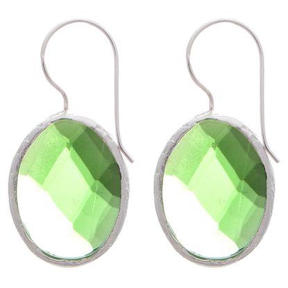 Imagen de Sterling Silver Cubic Zirconia Oval Checker Board Earrings