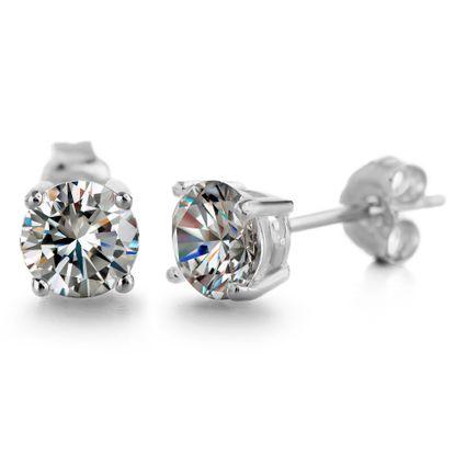 Imagen de Cubic Zirconia 5MM Round Stud Earring in Rhodium over Sterling Silver