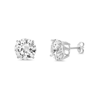 Imagen de Cubic Zirconia 8MM Round Stud Earring in Rhodium over Sterling Silver