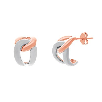 Imagen de Two-Tone Sterling Silver Polished Link Post Hoop Earrings