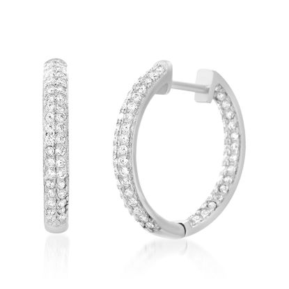 Imagen de Cubic Zirconia In and Out Hoop Earring in Sterling Silver