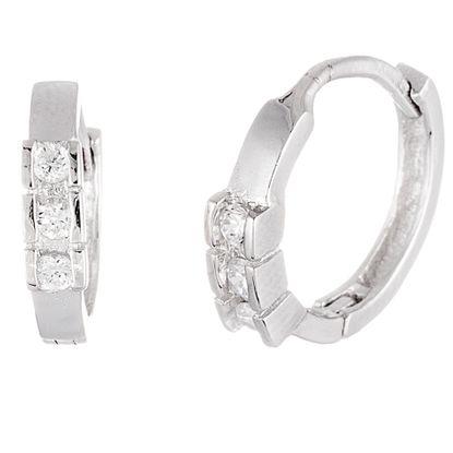 Imagen de Sterling Silver Cubic Zirconia Huggie Earrings