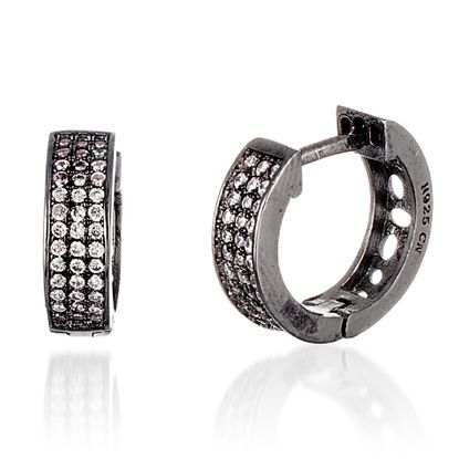 Picture of Black Onyx Sterling Silver Triple Row Cubic Zirconia Huggie Earring