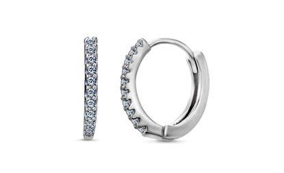 Imagen de Sterling Silver Cubic Zirconia Pave Huggie Earrings