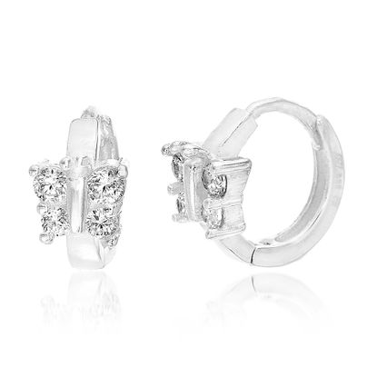 Imagen de Sterling Silver Cubic Zirconia Butterfly Huggie Hoop Earrings