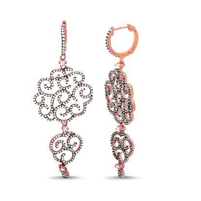 Imagen de Two-Tone Sterling Silver Cubic Zirconia Swirl Double Filigree Disc Earrings
