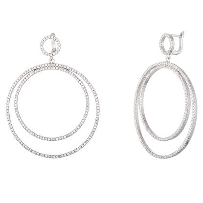 Imagen de Genuine Cubic Zirconia In and Out Earring in Sterling Silver