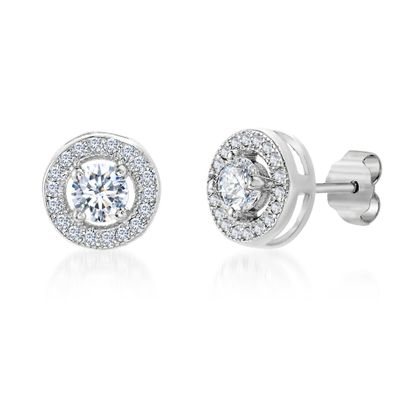 Imagen de Round Cubic Zirconia Circle Halo Stud Earring in Rhodium over Sterling Silver