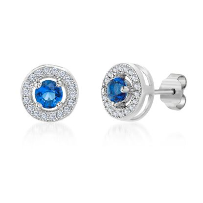 Imagen de Simulated Blue Sapphire and Cubic Zirconia Round Circle Halo Stud Earrings in Rhodium over Sterling Silver