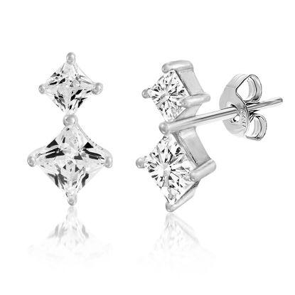 Imagen de Cubic Zirconia Two Stone Stud Earring in Sterling Silver