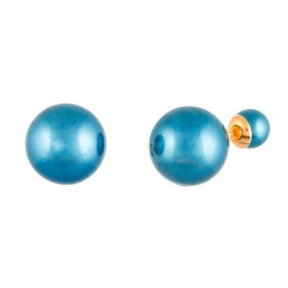 Imagen de Sterling Silver Front Back Blue Grey Pearl Post Earring