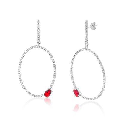 Imagen de Sterling Silver Cubic Zirconia Oval Post Earrings