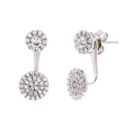 Imagen de Sterling Silver Double Cubic Zirconia Circle Post Earrings