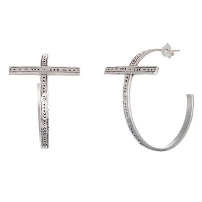 Imagen de Sterling Silver Antiqued Embedded Celtic Cross Open Hoop Post Earring