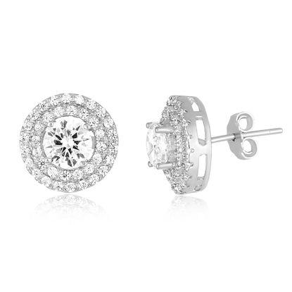 Imagen de Cubic Zirconia Double Ring Stud Earring in Sterling Silver