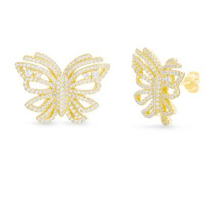 Imagen de Sterling Silver Cubic Zirconia Butterfly Post Earrings