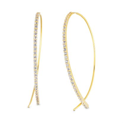Imagen de Cubic Zirconia Curved Bar Pull Through Earring in Yellow Gold over Sterling Silver
