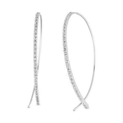 Imagen de Cubic Zirconia Curved Bar Pull Through Earring in Sterling Silver