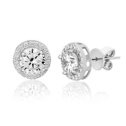 Imagen de Sterling Silver  Round Cubic Zirconia Halo Post Earrings