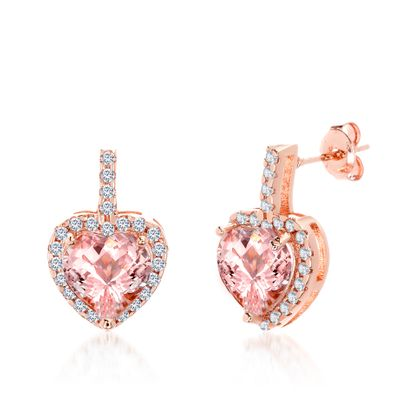 Imagen de Two-Tone Sterling Silver Cubic Zirconia Border Simulated Morganite Center Heart Shaped Post Earrings