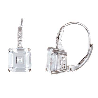 Imagen de Sterling Silver 8mm Square Cubic Zirconia Lever Back Earring