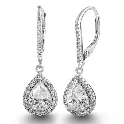 Imagen de Pear Shaped Cubic Zirconia Teardrop Dangle Leverback Bridal Earrings in Rhodium over Sterling Silver